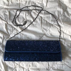 Blue Sequins Clutch w/ Chain